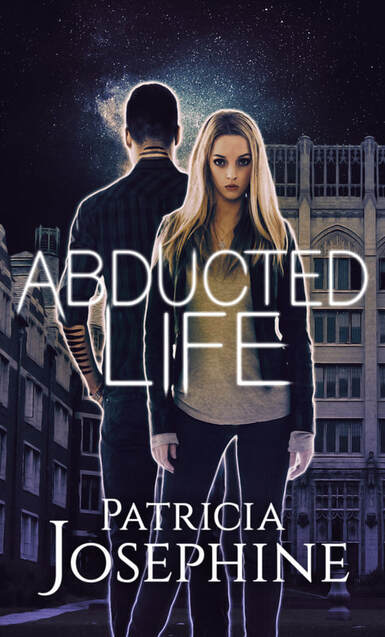 Young woman standing in front of young man facing away with buildings behind them. Book cover for Abducted Life by Patricia Josephine