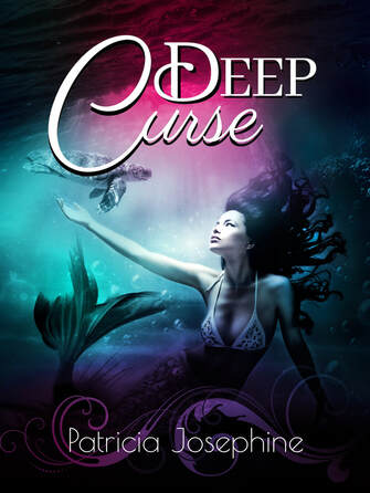 Book cover for Deep Curse. Mermaid in water looking up.
